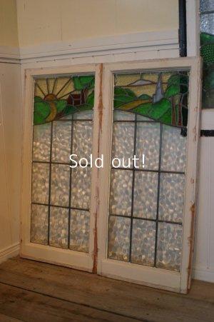 画像1: イギリス、アンティークステンドグラス,2枚窓
